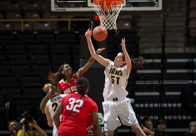 Iowa Hawkeyes center Bethany Doolittle (51) grabs a rebound during the first half of their game against the Ohio State Buckeyes Thursday, Feb. 5, 2015 at Carver-Hawkeye Arena in Iowa City.  (Brian Ray/hawkeyesports.com)