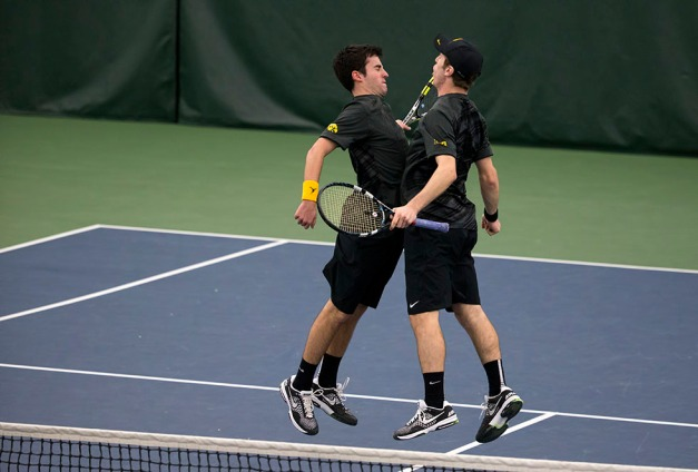Iowa's Jake Jacoby and Josh Silverstein play a doubles match their meet against  Marquette Friday, Feb. 6, 2015 at the Hawkeye Tennis and Recreation Center.  (Brian Ray/hawkeyesports.com)