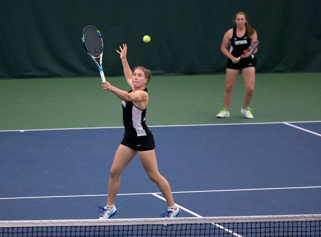 Iowa's Anastasia Reimchen and Morven McCulloch play a doubles match against  Iowa State Friday, Feb. 6, 2015 at the Hawkeye Tennis and Recreation Center.  (Brian Ray/hawkeyesports.com)