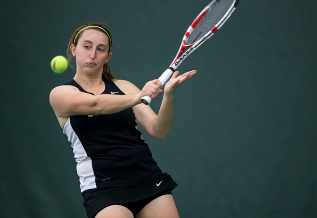 Iowa's Morven McCulloch plays a shot during their match against  Iowa State Friday, Feb. 6, 2015 at the Hawkeye Tennis and Recreation Center.  (Brian Ray/hawkeyesports.com)