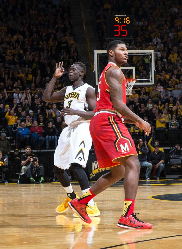 Iowa Hawkeyes guard Peter Jok (3) reacts after making a three pointer during the first half of their game against the Maryland Terrapins Sunday, Feb. 8, 2015 at Carver-Hawkeye Arena.  (Brian Ray/hawkeyesports.com)