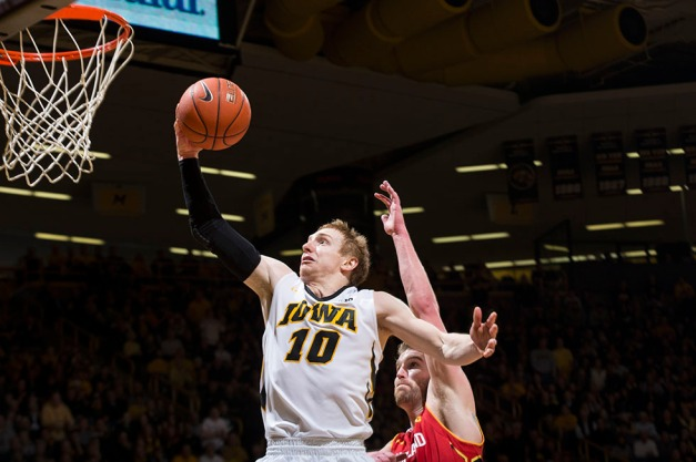 Iowa Hawkeyes guard Mike Gesell (10) takes the ball to the hoop during the second half of their game against the Maryland Terrapins Sunday, Feb. 8, 2015 at Carver-Hawkeye Arena.  (Brian Ray/hawkeyesports.com)