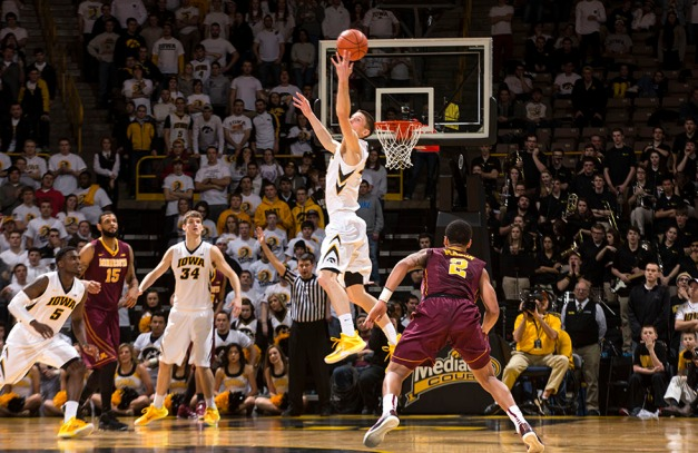 Iowa Hawkeyes forward Jarrod Uthoff (20) intercepts a pass during the second half of their game against the Minnesota Golden Gophers Thursday, Feb. 12, 2015 at Carver-Hawkeye Arena.  (Brian Ray/hawkeyesports.com)