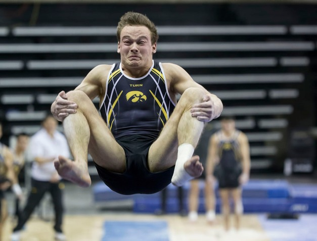 Iowa's Dylan Ellsworth competes on the vault during their meet against Minnesota and Nebraska Saturday, Jan. 24, 2015 at Carver-Hawkeye Arena.  (Brian Ray/hawkeyesports.com)
