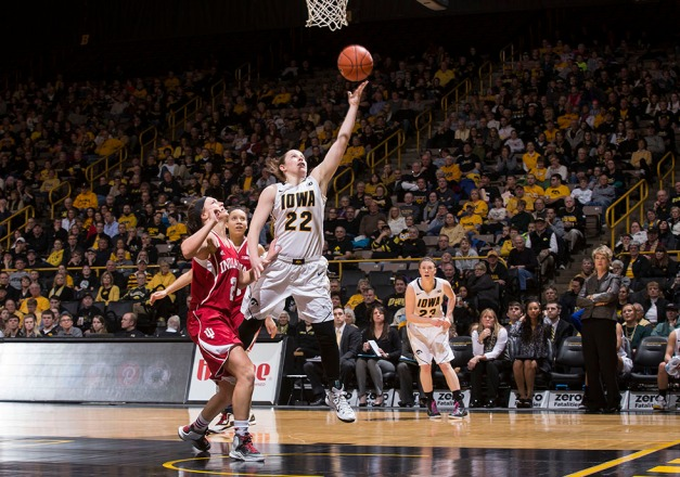 Iowa Hawkeyes guard Samantha Logic (22) puts up a shot during the second half of their game against the Indiana Hoosiers Sunday, Feb. 15, 2015 at Carver-Hawkeye Arena in Iowa City.  (Brian Ray/hawkeyesports.com)