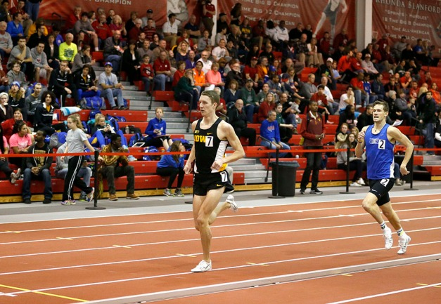 University of Iowa senior Sam Fourman finishes second in the men's mile run at the Frank Sevigne Husker Invitational on Feb. 7 in Lincoln, Nebraska. Fourman's time was 4:13.98. (Darren Miller/hawkeyesports.com)
