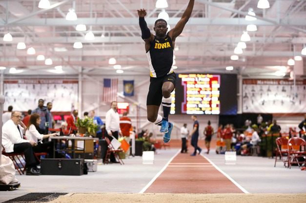 University of Iowa senior Babatunde Amosu  leaps 49-feet, 5-inches to place runner-up in the men's triple jump at the Frank Sevign Husker Invitational on Feb. 7 in Lincoln, Nebraska. (Darren Miller/hawkeyesports.com)