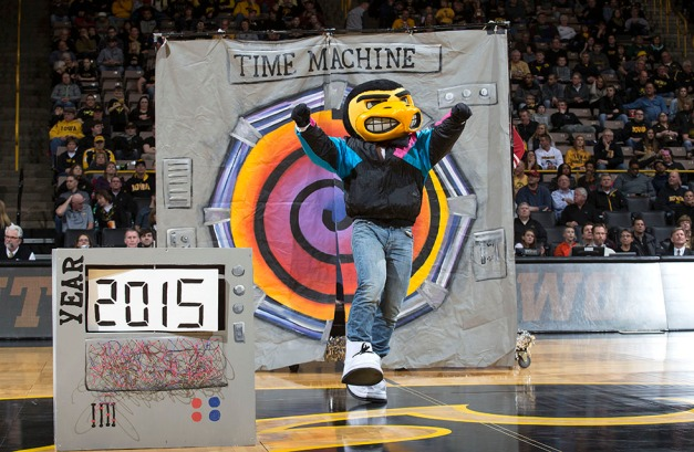 Herky performs at halftime of the Hawkeyes game against the Rutgers Scarlet Knights  Thursday, Feb. 19, 2015 at Carver-Hawkeye Arena.  (Brian Ray/hawkeyesports.com)
