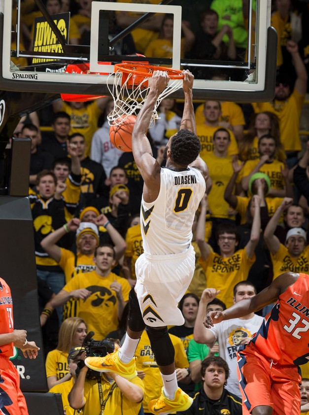Iowa Hawkeyes center Gabriel Olaseni (0) dunks the ball during the first half of their game against the Illinois Fighting Illini Wednesday, Feb. 25, 2015 at Carver-Hawkeye Arena.  (Brian Ray/hawkeyesports.com)