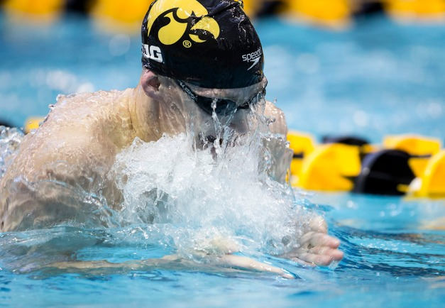 Iowa's Kyle Patnode swims in the preliminaries of the 500 yard freestyle during the second session of the 2015 Big Ten Men's Swimming and Diving Championships Wednesday, Feb. 25, 2015 at the Campus Recreation and Wellness Center on the University of Iowa campus in Iowa City, Iowa.  (Brian Ray/hawkeyesports.com)