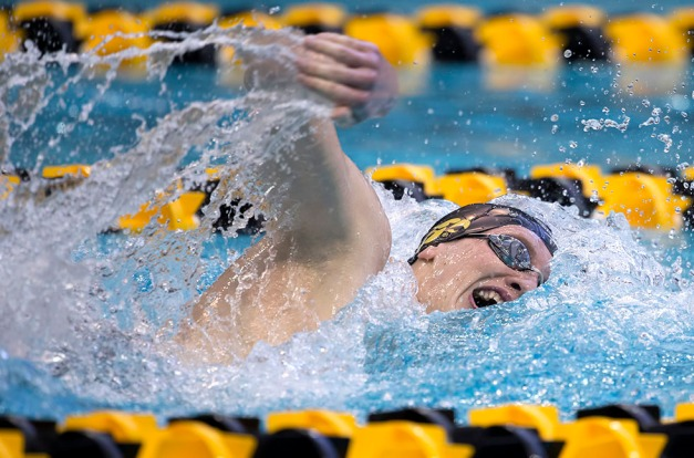 Iowa's Christopher Dawson swims in the preliminaries  of the 400 yard IM during the fourth session of the 2015 Big Ten Men's Swimming and Diving Championships Friday, Feb. 27, 2015 at the Campus Recreation and Wellness Center on the University of Iowa campus in Iowa City, Iowa.  (Brian Ray/hawkeyesports.com)