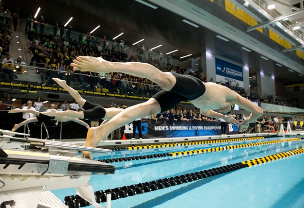 Iowa's Roman Trussov starts the A Final of the 200 Yard Breaststroke during the seventh session of the 2015 Big Ten Men's Swimming and Diving Championships Saturday, Feb. 28, 2015 at the Campus Recreation and Wellness Center on the University of Iowa campus in Iowa City, Iowa. Trussov finished fourth.  (Brian Ray/hawkeyesports.com)