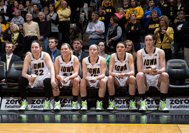 Iowa Hawkeyes starters Samantha Logic, Melissa Dixon, Whitney Jennings, Ally Disterhoft, and Bethany Doolittle wait to be introduced before their game against the Minnesota Golden Gophers Sunday, March 1, 2015 at Carver-Hawkeye Arena.  (Brian Ray/hawkeyesports.com)