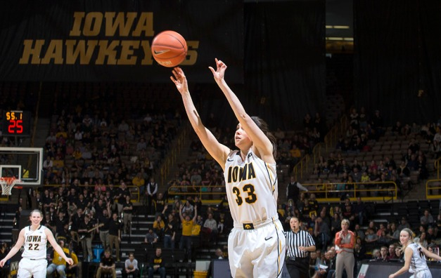 Iowa Hawkeyes guard Kathryn Reynolds (33) knocks down a three point basket during the second half of their game against the Minnesota Golden Gophers Sunday, March 1, 2015 at Carver-Hawkeye Arena.  (Brian Ray/hawkeyesports.com)