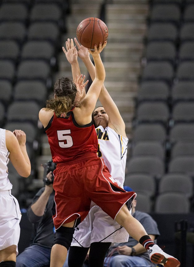 Iowa Hawkeyes forward Claire Till (3) draws a charge on Nebraska Cornhuskers guard Natalie Romeo (5) during the first half or their game in the quarter finals of the 2015 BIG Ten Tournament Friday, March 6, 2015 at the Sears Centre Arena in Hoffman Estates, Ill.  (Brian Ray/hawkeyesports.com)