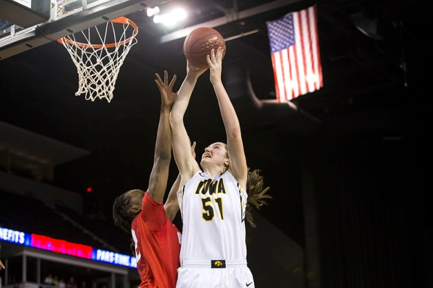 Iowa Hawkeyes center Bethany Doolittle (51) goes to the hoop to send then game to overtime at the end of the second half of their semi-final game against the Ohio State Buckeyes Saturday, March 7, 2015 at the Sears Centre in Hoffman Estates, Ill.  (Brian Ray/hawkeyesports.com)