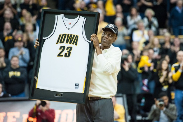 Iowa's all time leading scorer Roy Marble holds up a framed jersey after being recognized Saturday, Mar 7, 2015 at Carver-Hawkeye Arena. Mandatory Credit: Jeffrey Becker-USA TODAY Sports