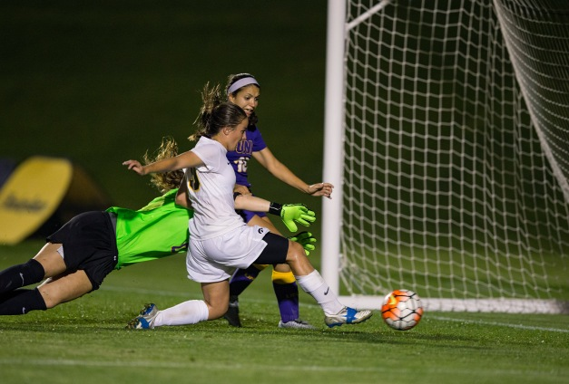 Iowa Hawkeyes Karly Stuenkel (19) scores in overtime to beat the UNI Panthers Tuesday, Sept. 1, 2015 at the Hawkeye Soccer Complex in Iowa City.  (Brian Ray/hawkeyesports.com)