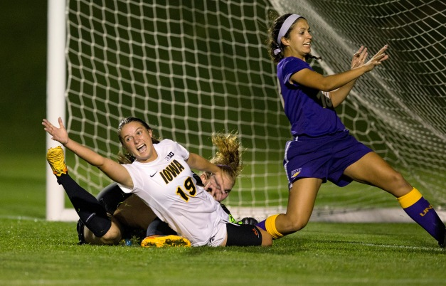 Iowa Hawkeyes Karly Stuenkel (19) celebrates after scoring in overtime to beat  the UNI Panthers Tuesday, Sept. 1, 2015 at the Hawkeye Soccer Complex in Iowa City.  (Brian Ray/hawkeyesports.com)