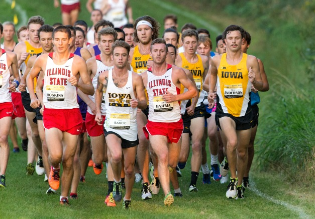 Iowa's Ben Anderson leads the team during the Hawkeye Early Bird Invitational Friday, Sept. 4, 2015 at the Ashton Cross Country Course.  (Brian Ray/hawkeyesports.com)