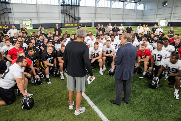 New University of Iowa President Bruce Harreld addresses the Hawkeye Football Team Friday, Sept. 4, 2015 at the Hansen Football Performance Center. Harreld was named the UI's 21st president by the Board of Regents State of Iowa on Thursday.  (Brian Ray/hawkeyesports.com)