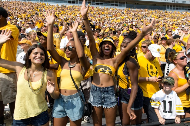 Fans cheer on the Iowa Hawkeyes during the first half of their game against the Illinois State Redbirds Saturday, Sept. 5, 2015 at Kinnick Stadium.  (Brian Ray/hawkeyesports.com)