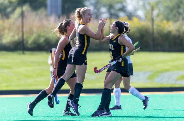 Iowa Hawkeyes midfielder Makenna Grewe (04) celebrates with forward Mallory Lefkowitz (06) after scoring during their game against the Stanford Cardinal Thursday, Sept. 10, 2015 at Grant Field. (Brian Ray/hawkeyesports.com)