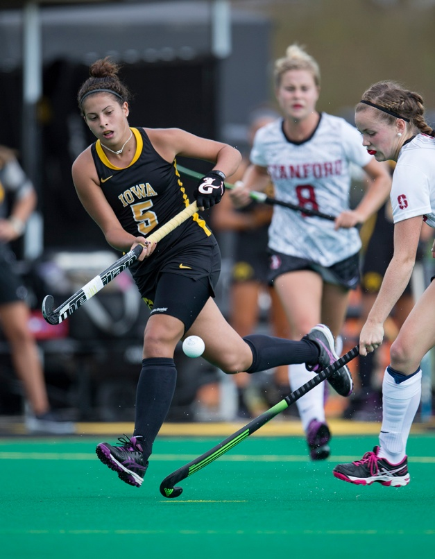 Iowa Hawkeyes forward Joella Guagliardo (05) chases down a ball during their game against the Stanford Cardinal Thursday, Sept. 10, 2015 at Grant Field. (Brian Ray/hawkeyesports.com)