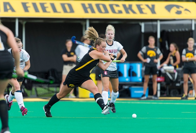 Iowa Hawkeyes forward Stephanie Norlander (08) takes a shot during their game against the Stanford Cardinal Thursday, Sept. 10, 2015 at Grant Field. (Brian Ray/hawkeyesports.com)