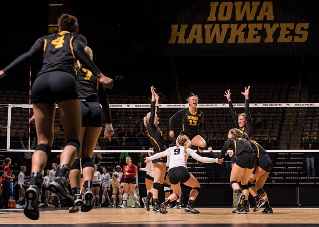 The Iowa Hawkeyes celebrate after defeating the Iowa State Cyclones in four games Friday, Sept. 11, 2015 at Carver-Hawkeye Arena. (Brian Ray/hawkeyesports.com)