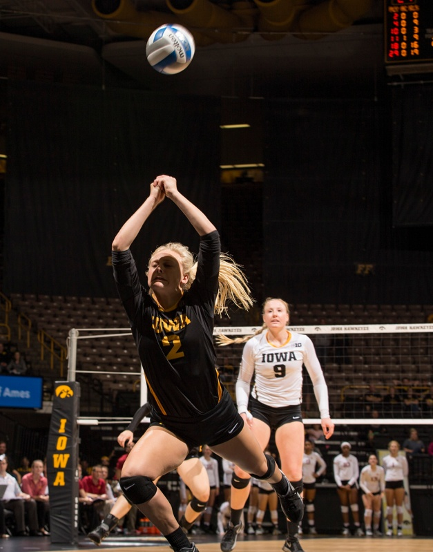 Iowa Hawkeyes defensive specialist Libby Koukol (2) saves a ball during their game against the Iowa State Cyclones in the Iowa Corn Cy-Hawk Series Friday, Sept. 11, 2015 at the Carver-Hawkeye Arena. (Brian Ray/hawkeyesports.com)
