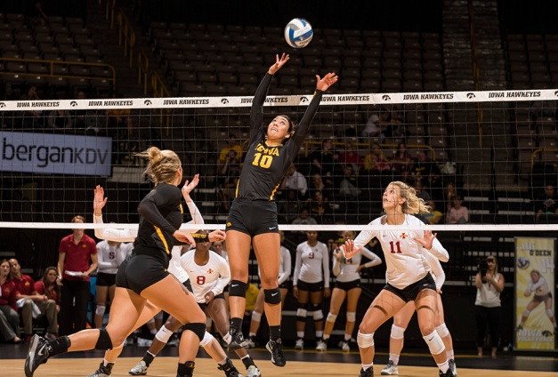Iowa Hawkeyes setter Loxley Keala (10) sets the ball during their game against the Iowa State Cyclones in the Iowa Corn Cy-Hawk Series Friday, Sept. 11, 2015 at the Carver-Hawkeye Arena. (Brian Ray/hawkeyesports.com)