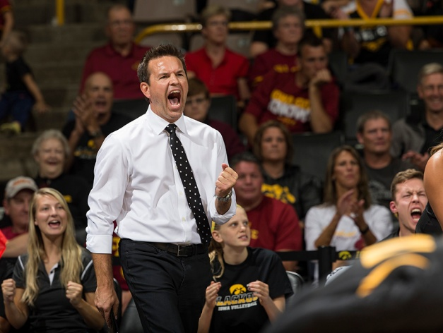 Iowa Hawkeyes head coach Bond Shymansky celebrates a point during their game against the Iowa State Cyclones in the Iowa Corn Cy-Hawk Series Friday, Sept. 11, 2015 at the Carver-Hawkeye Arena. (Brian Ray/hawkeyesports.com)
