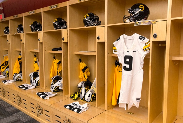 A number nine jersey in honor of Tyler Sash hangs in the Iowa locker room before their game against the Iowa State Cyclones in the Iowa Corn Cy-Hawk Series Saturday, Sept. 12, 2015 at the Jack Trice Stadium in Ames. (Brian Ray/hawkeyesports.com)
