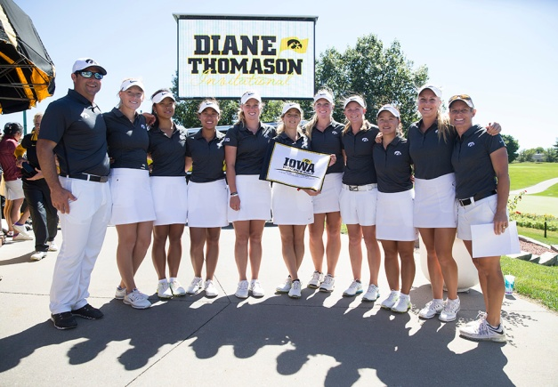 The Iowa Hawkeyes are the champions of the 2015 the Diane Thomason Invitational Sunday, Sept. 13, 2015 at Finkbine Golf Course in Iowa City. (Brian Ray/hawkeyesports.com)