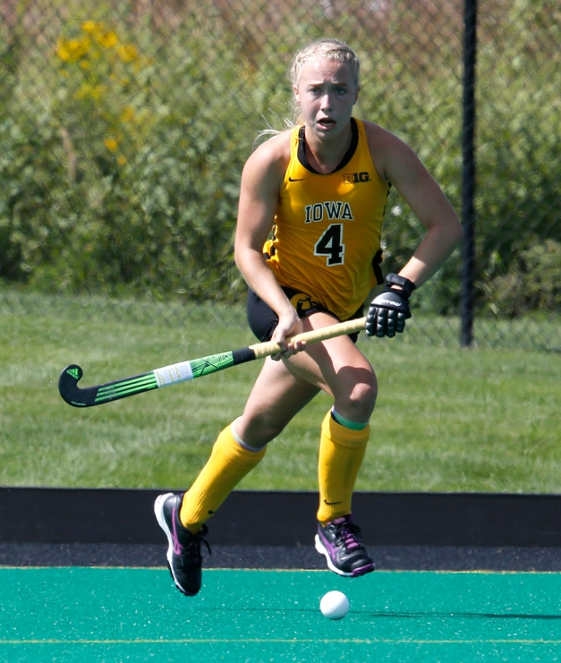 Freshman Makenna Grewe scored two goals and added two assists during the University of Iowa's 7-1 victory against Kent State on Sept. 12. (Darren Miller/hawkeyesports.com)